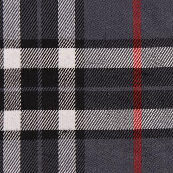 Bekleidungsstoff Karostoff Schottenkaro kariert grau rot weiß schwarz 1,45m Breite – Bild 1