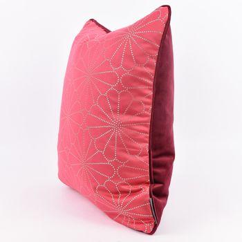 SCHÖNER LEBEN. Wendekissen mit Kederumrandung und Federfüllung Blume pink silberfarbig Samt dunkelrot 50x50cm – Bild 2