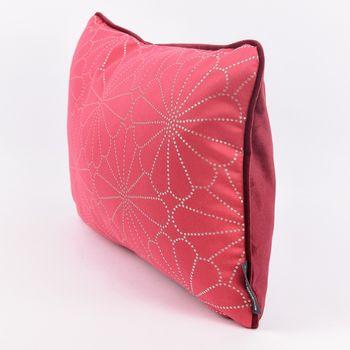 SCHÖNER LEBEN. Wendekissen mit Kederumrandung und Federfüllung Blume pink silberfarbig Samt dunkelrot 30x50cm – Bild 2