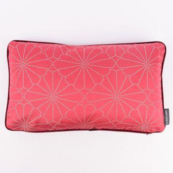 SCHÖNER LEBEN. Wendekissen mit Kederumrandung und Federfüllung Blume pink silberfarbig Samt dunkelrot 30x50cm – Bild 1