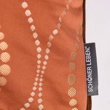 SCHÖNER LEBEN. Wendekissen mit Kederumrandung und Federfüllung Punkte orange Samt cognac braun 50x50cm – Bild 3