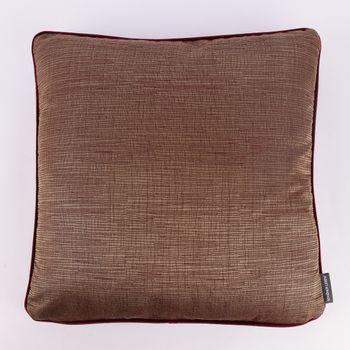 SCHÖNER LEBEN. Wendekissen mit Kederumrandung und Federfüllung goldfarbig rot Samt dunkelrot 50x50cm – Bild 1