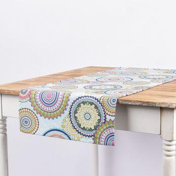 SCHÖNER LEBEN. Tischläufer Mandala Blumen blau bunt 40x160cm – Bild 1