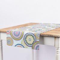 SCHÖNER LEBEN. Tischläufer Mandala Blumen blau bunt 40x160cm