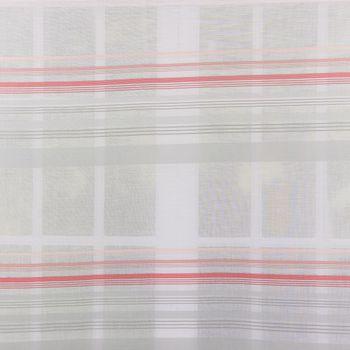 Dekostoff Meterware MARULA Stores weiß mit verschiedenen Querstreifen grau rosa halbtransparent 1,48m Breite  – Bild 1