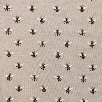 Gardinenstoff Dekostoff Biene natur gelb schwarz weiß 1,40m Breite – Bild 1