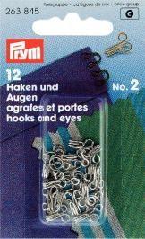Prym 12 Federhaken und Augen MS2 silberfarbig