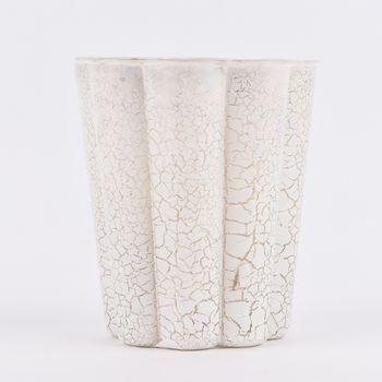 Clayre & Eef Windlicht Teelichthalter Bruchglas-Optik weiß mit goldfarbigem Akzent – Bild 2