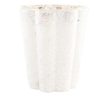 Clayre & Eef Windlicht Teelichthalter Bruchglas-Optik weiß mit goldfarbigem Akzent – Bild 4