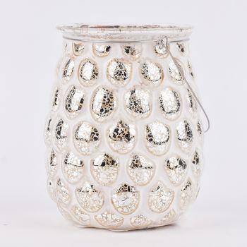 Clayre & Eef Windlicht Teelichthalter Mirrorsplash weiß mit goldfarbigem Akzent – Bild 1