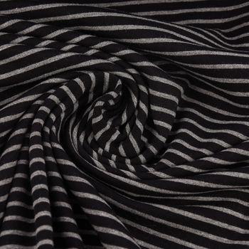 Jerseystoff Baumwolljersey Streifen schwarz grau 1,55m Breite – Bild 1