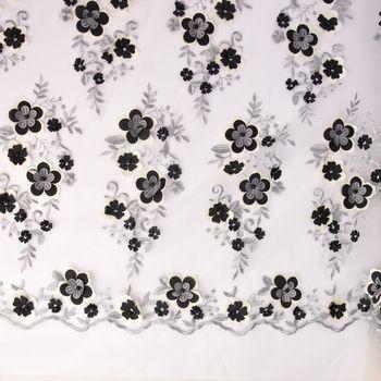 Stickerei-Tüll Perlen-Stoff Tüll mit Blumen und Perlen bestickt creme schwarz 1,5m Breite – Bild 1