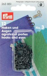 Prym 12 Federhaken und Augen MS3 schwarz