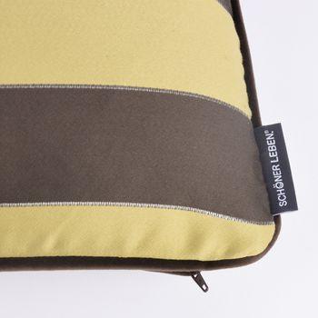SCHÖNER LEBEN. Wendekissen mit Kederumrandung und Federfüllung Streifen goldfarbig braun Samt 30x50cm – Bild 3