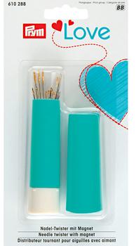 Prym Love Nadel Twister mit Magnet türkis weiß 9x2cm