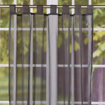 Schlaufenschal Schlaufenvorhang Fertiggardine Uni-Voile grau 140x245cm – Bild 1