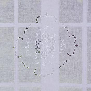 Türbehang Scheibengardine Fertiggardine Leinenstruktur Makramee weiß 90x180cm – Bild 6