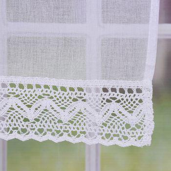 Fensterbehang Scheibengardine Fertiggardine Leinenstruktur Makramee weiß 90x100cm – Bild 4