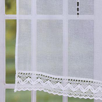 Fensterbehang Scheibengardine Fertiggardine Leinenstruktur Makramee weiß 90x100cm – Bild 8