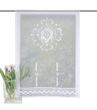 Fensterbehang Scheibengardine Fertiggardine Leinenstruktur Makramee weiß 60x100cm – Bild 1