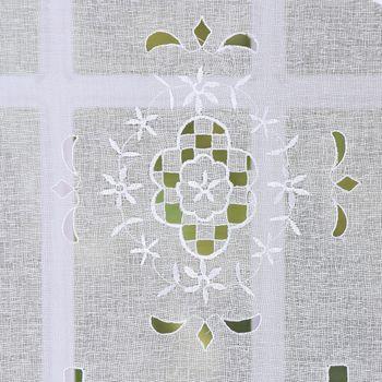 Fensterbehang Scheibengardine Fertiggardine 2er Pack Leinenstruktur Makramee weiß 30x45cm – Bild 3