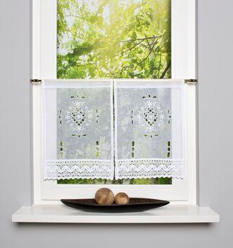 Fensterbehang Scheibengardine Fertiggardine 2er Pack Leinenstruktur Makramee weiß 30x45cm – Bild 5