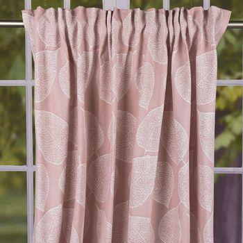 Schal Vorhang Fertiggardine Jacquard mit Schlaufenband Blätter rosa 142x245cm – Bild 1