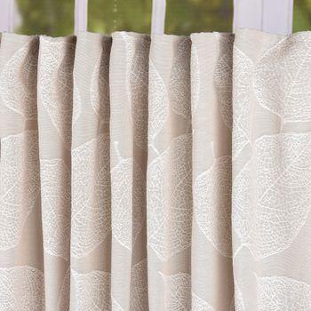 Schal Vorhang Fertiggardine Jacquard mit Schlaufenband Blätter beige 142x245cm – Bild 2