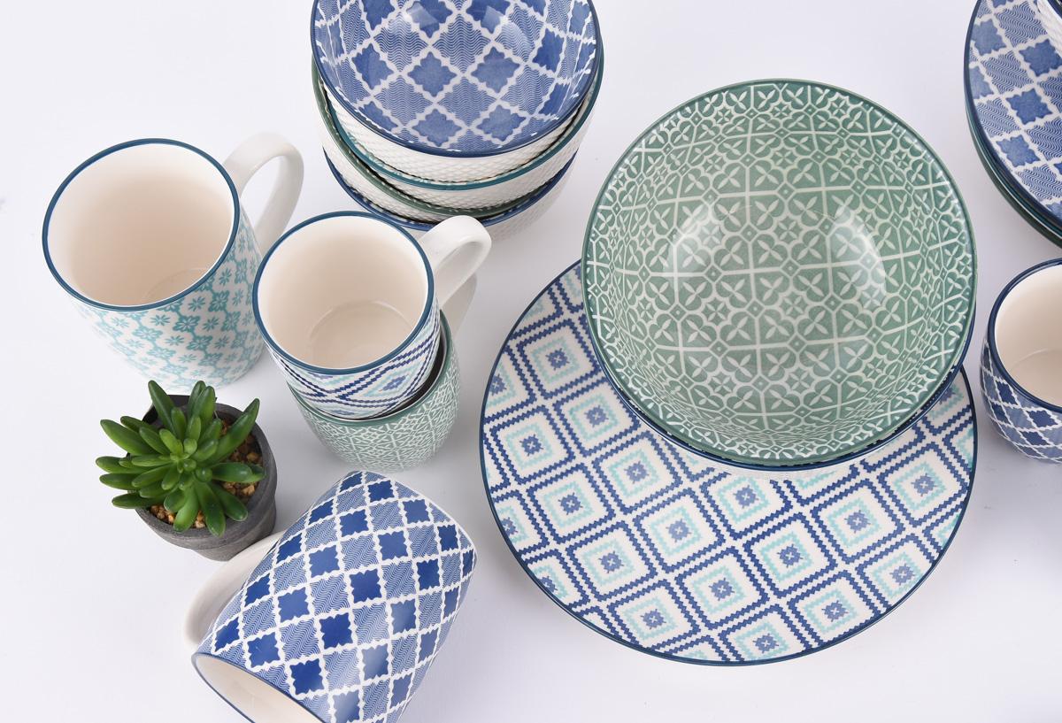 mix and match teller keramik wei blau gr n 21cm wohnen kochen und genie en geschirr gl ser. Black Bedroom Furniture Sets. Home Design Ideas