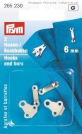 Prym 2 Hosenhaken und Stege ST silberfarbig 6mm