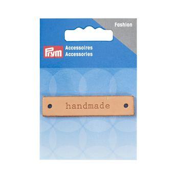 Prym Applikation Handmade Label Leder rechteckig natur 6x1,3cm – Bild 1