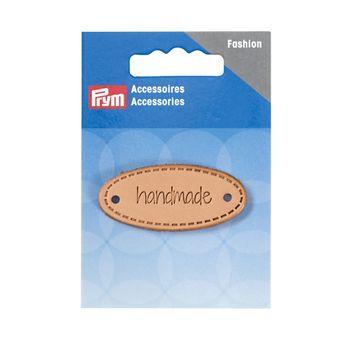 Prym Applikation Handmade Label Leder oval natur 5x2cm