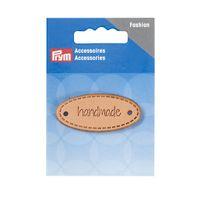 Prym Applikation Handmade Label Leder oval natur 5x2cm 001