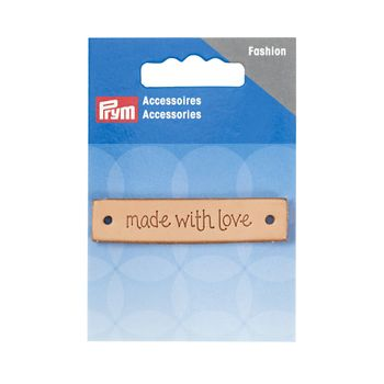 Prym Applikation made with love Label Leder rechteckig natur 6x1,3cm