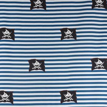 Villa Coppenrath Capt´n Sharky Dekostoff Baumwollstoff Gardinenstoff Meterware Streifen Piratenflagge blau weiß 140cm – Bild 2