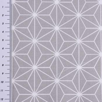 Baumwollstoff CASUAL Stern Motiv grau weiß 1,5m Breite – Bild 3