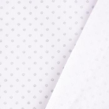 Baumwollstoff Pisani Punkte weiß silberfarbig 1,5m Breite – Bild 5