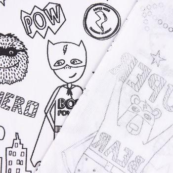 Baumwollstoff Ausmalstoff Superhero Superheld weiß schwarz 1,5m Breite – Bild 5