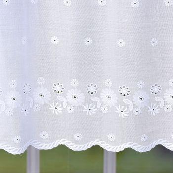 Scheibengardine Batist mit Lochstickerei Blumen weiß 57cm hoch – Bild 5