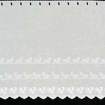 Scheibengardine Batistoptik mit Stickerei Hühner weiß 47cm hoch – Bild 1
