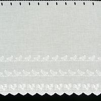 Scheibengardine Batistoptik mit Stickerei Hühner weiß 47cm hoch 001