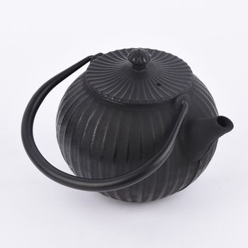 Japanische Gusseisen Teekanne Rillen schwarz 14x18,5x24cm – Bild 3