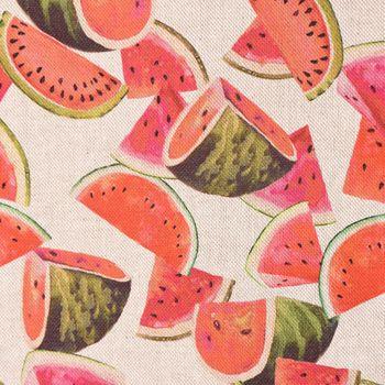 Dekostoff Baumwollstoff Melonenstücke natur bunt 1,40m Breite – Bild 1