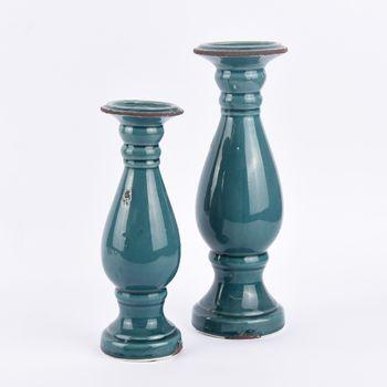 Kerzenständer Kerzenhalter Vintage Keramik grünblau groß 35x12cm – Bild 6