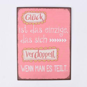 """Schild Metall """"Glück ist das einzige, das sich verdoppelt..."""" 26x35cm – Bild 1"""