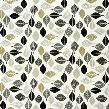 SCHÖNER LEBEN. Kissenhülle Blätter weiß grau khaki 30x50cm – Bild 5