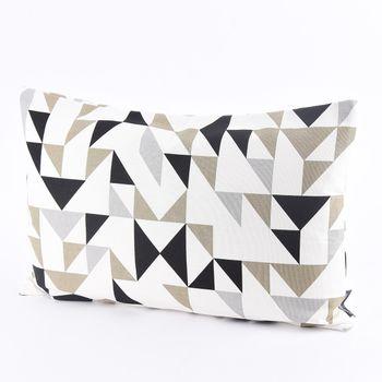 SCHÖNER LEBEN. Kissenhülle Dreiecke weiß grau khaki schwarz 30x50cm – Bild 1