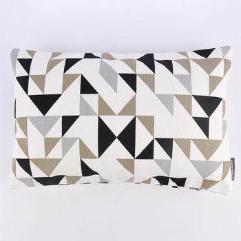 SCHÖNER LEBEN. Kissenhülle Dreiecke weiß grau khaki schwarz 30x50cm – Bild 2