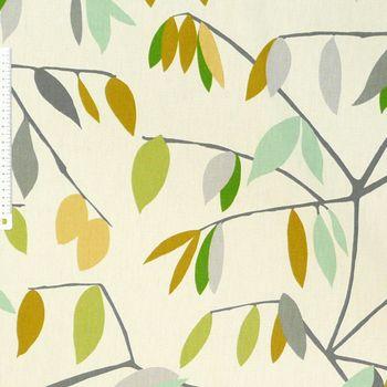 SCHÖNER LEBEN. Kissenhülle Coco Lemonade Blätter grau grün gelb 30x50cm – Bild 6