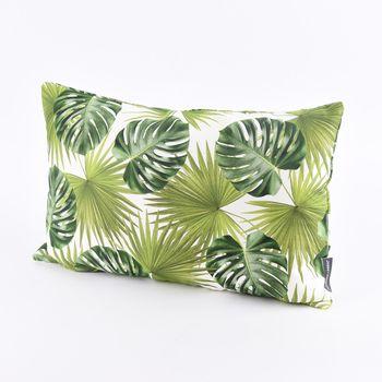 SCHÖNER LEBEN. Kissenhülle Palmen Blatt grün weiß 30x50cm – Bild 1